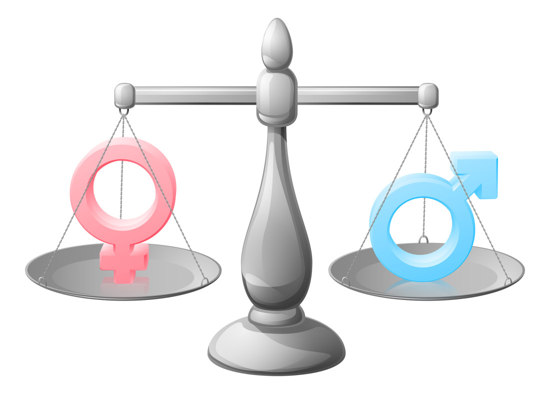 Gender symbol scales equality concept with man and woman or male and female signs being balanced or weighed against each other
