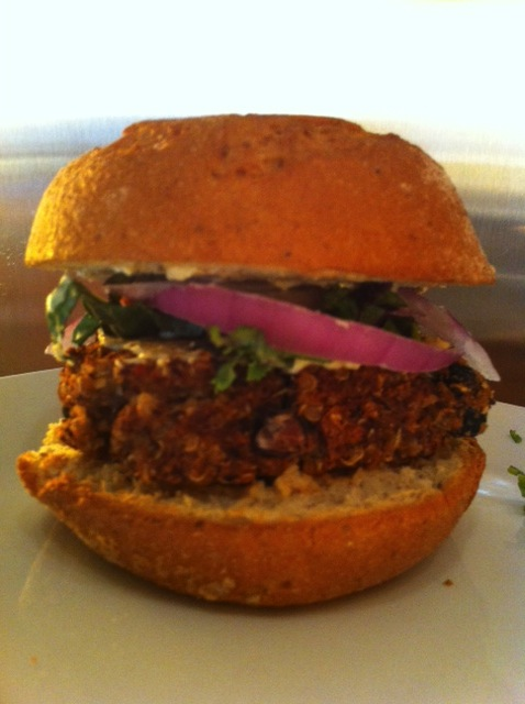 Black Bean Quinoa Burgers and Chocolate Raspberry Almond Smoothie for Meatless Monday