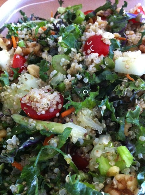 Kale and Quinoa Salad and Cumin Roasted Sweet Potatoes for Meatless Monday