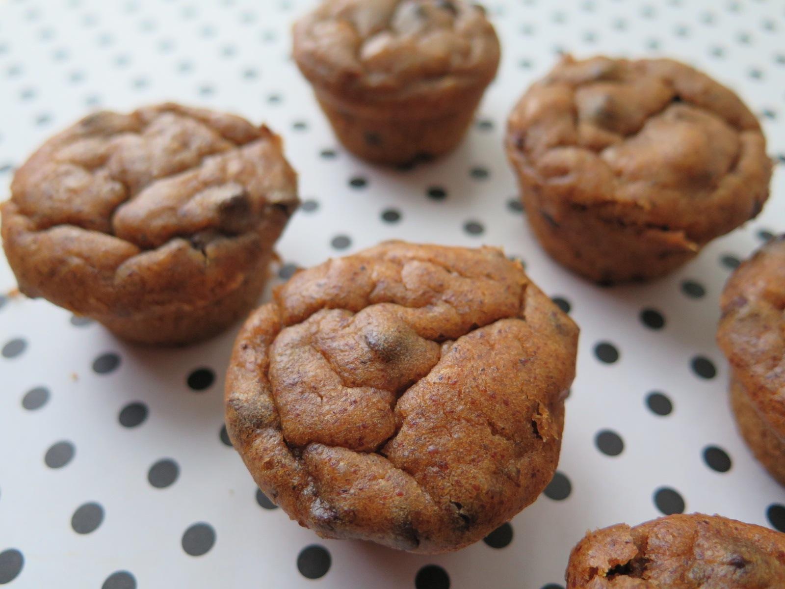 Flourless Chocolate Chip Pumpkin Mini Muffins