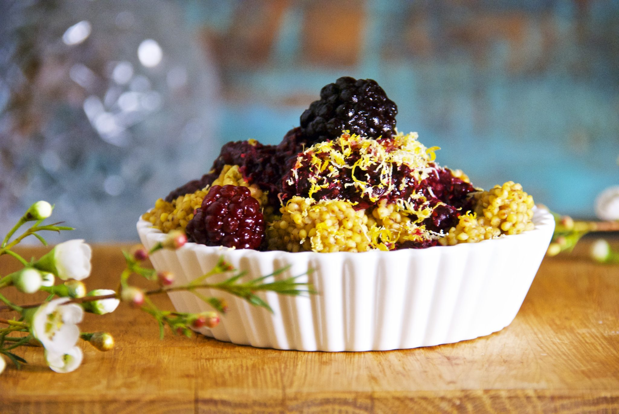 Ginger Toasted Millet with Blackberry Chia Sauce